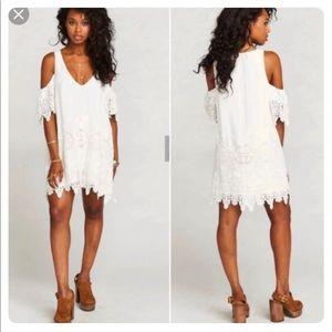 Show Me Your Mumu Birdie White Lace Ruffle Dress